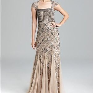 Adrianna Papell Silver Beaded Cap Sleeve Gown 4